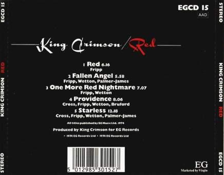 King Crimson - Red - Back