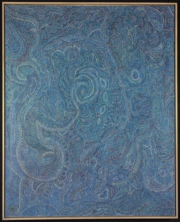 Chiyuki Sakagami Quepzalcoatl Azul, 1979 huile sur toile 168 x 137 cm Photo : Olivier Laffely, Atelier de numérisation - Ville de Lausanne Collection de l'Art Brut, Lausanne no inv. cab-12760